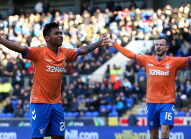 Morelos celebrates scoring Rangers' late winner on Sunday.
