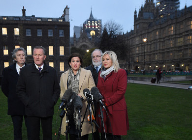 Sinn Féin representatives outside Westminster earlier this year