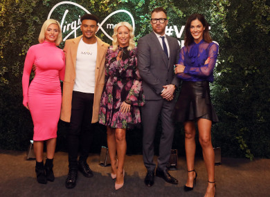 Former love Island contestant Megan Barton-Hanson, Wes Nelson Actress Denise Van Outen with Comedian Jason Byrne and Irish model Glenda Gilson at Virgin Media spring press briefing for its 2019 TV schedule