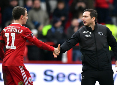 Derby County boss Frank Lampard shakes hands with Accrington Stanley's Sean McConville after the game.