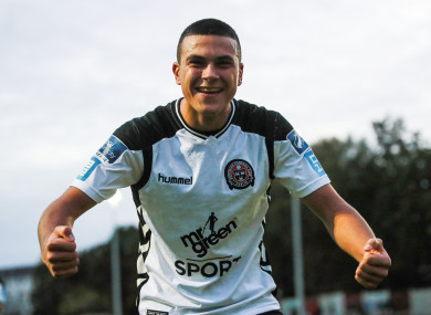The striker won the U19 double with Bohemians last year.