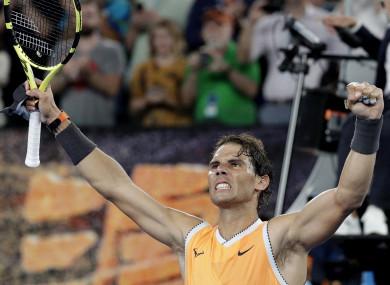 Rafael Nadal celebrates his quarter-final win over Frances Tiafoe.