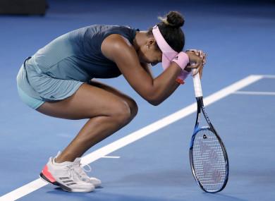Japan's Naomi Osaka reacts after defeating Petra Kvitova in Melbourne.