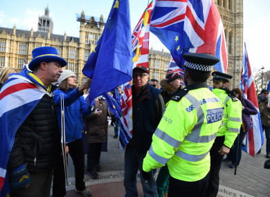 Pro and anti-Brexit protesters clash outside Westminster.