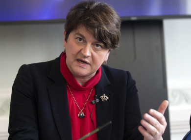 DUP leader Arlene Foster at the 'A Better Deal' event at the British Academy, London, today.