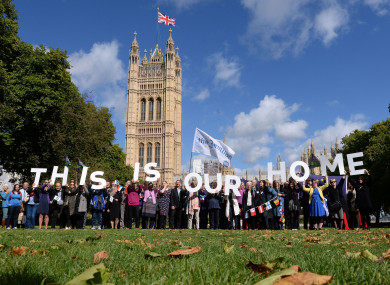 EU citizens at a demonstration outside the Houses of Parliament in London.