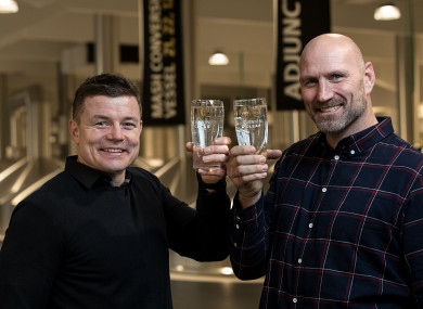 Brian O'Driscoll and Lawrence Dallaglio launch 'Guinness Clear' in Dublin this week.