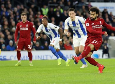 Pen king: Liverpool star Mohamed Salah.