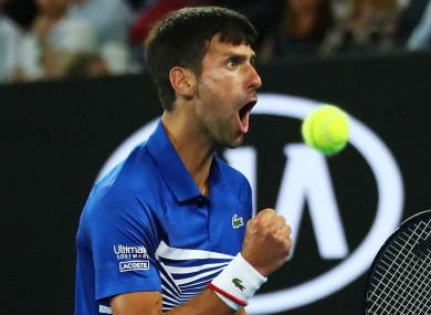 Novak Djokovic celebrates during the 2019 Australian Open final.