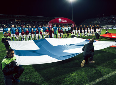 The Finnish players line-up ahead of a recent game against Turkey.