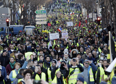 Demonstrators with yellow vests protesting in Marseille, southern France