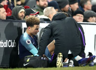 Dele Alli won't be back in training until early March after straining his hamstring at Fulham last weekend.