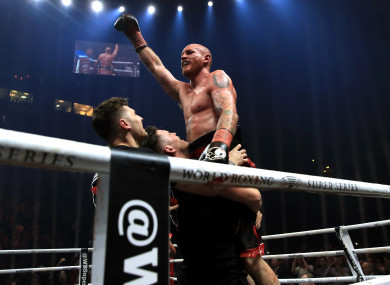 George Groves celebrates victory over Chris Eubank Jr last year.