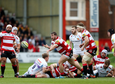 McAllister gets a pass away for Gloucester against Exeter last season.