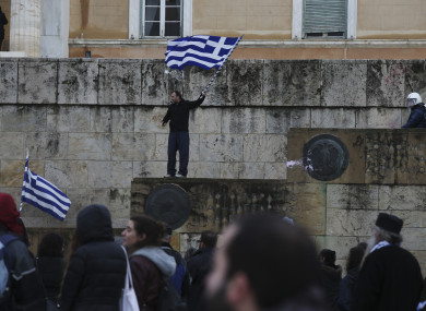 Opponents of Prespa Agreement at a rally outside Greek Parliament