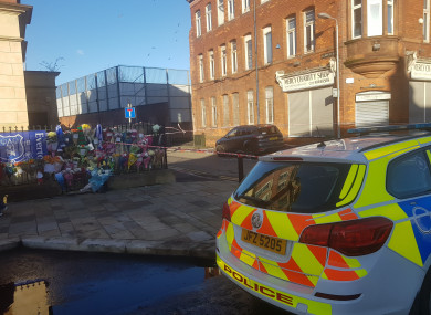 Floral tributes were left near the scene of the murder in east Belfast