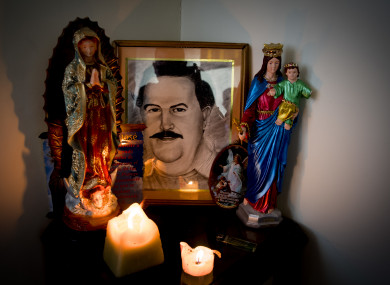 File photo of a shrine to pablo Escobar in Medellin in Colombia.