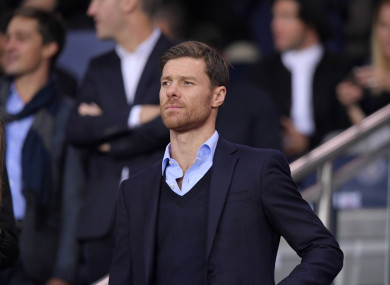 Xabi Alonso attending the Champions League tie between PSG and Bayern Munich in 2017.