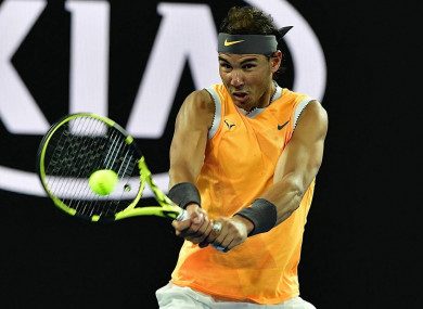 Rafael Nadal in action at the Australian Open.