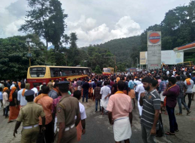Protestors block vehicles as they look for women heading towards the Sabarimala temple amid protests in October