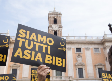 Solidarity sit-in for Asia Bibi in Rome organised by the CitizenGO Italia Foundation last year.