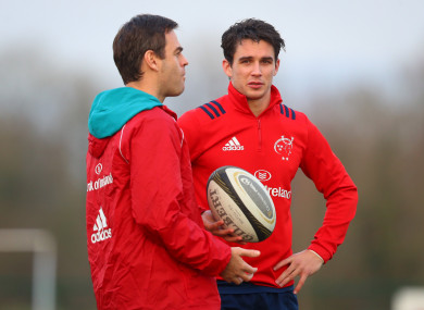Johann van Graan chats with out-half Joey Carbery this week.