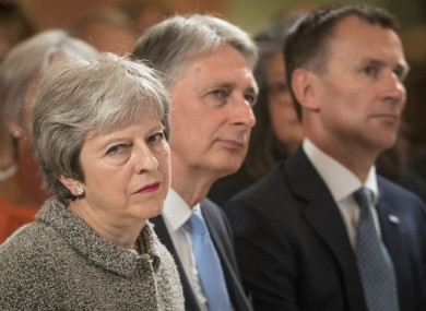 Prime Minister Theresa May, Chancellor Philip Hammond and then-Health Secretary Jeremy Hunt pictured last year.