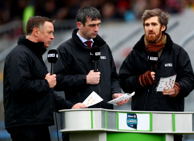 Micheal O Domhnaill, Cathal Moore and  Diarmuid Lyng ahead of the hurling league clash between Clare and Cork last year.