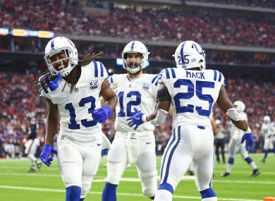 Colts trio TY Hilton, Andrew Luck and Marlon Mack celebrate a second quarter touchdown against the Houston Texans last weekend.