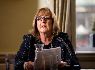 Fórsa school secretaries branch chair Maria Dunne speaking in Dublin this week.