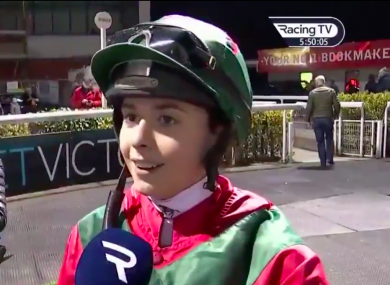 The Tipperary native received her jockey's licence on Thursday before claiming her first win in Dundalk a day later.