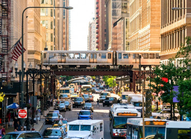 The L running through downtown Chicago.