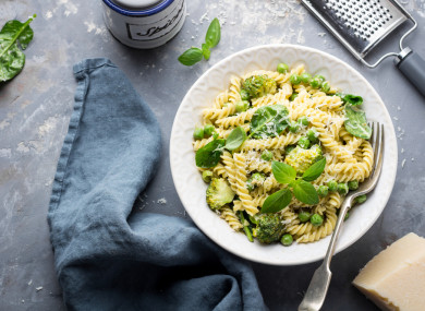 Pea pasta with parmesan.