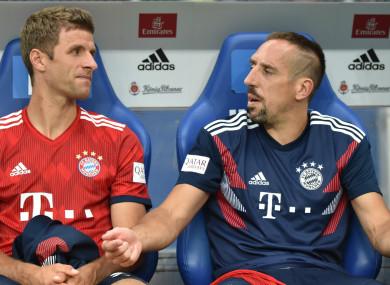 Bayern Munich team-mates Thomas Muller and Franck Ribery