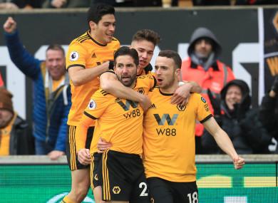 Wolverhampton Wanderers' Diogo Jota (right) celebrates scoring.