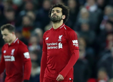 Salah failed to score against Leicester earlier in the week.