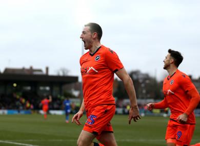 Millwall's Murray Wallace celebrates scoring