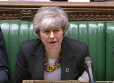 Prime Minister Theresa May listening to Labour leader Jeremy Corbyn.