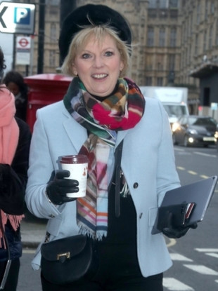 Anna Soubry MP outside Westminster.