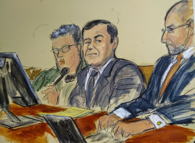 A courtroom sketch of Joaquin