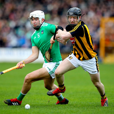 Limerick's Aaron Gillane goes up against Kilkenny's Enda Morrissey.