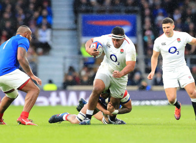 Mako Vunipola turns his ankle in action against France last Sunday.