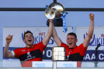 Eoghan Murphy and Conor Browne lift the Fitzgibbon Cup.