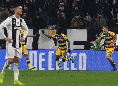 Gervinho celebrates scoring for Parma against Juventus.