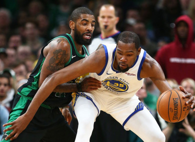 Kryie Irving (L) and Kevin Durant have both been linked with moves to the New York Knicks.