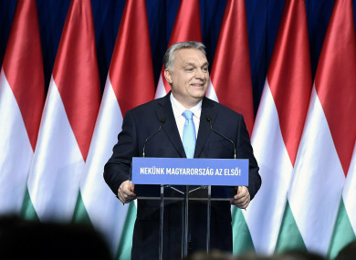 Hungarian Prime Minister Viktor Orban delivers his annual