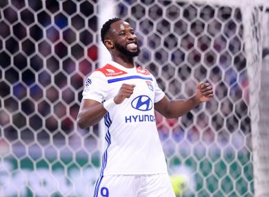 Moussa Dembele celebrates a goal.