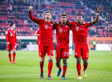 Leon Goretzka, Kingsley Coman and David Alaba celebrate together.