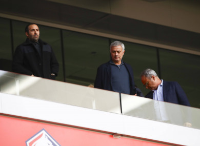Jose Mourinho pictured at the Lille-Montpellier game.