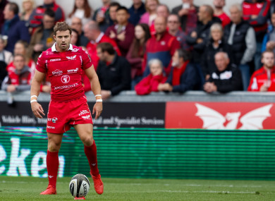 Halfpenny lines up a kick for Scarlets early this season.